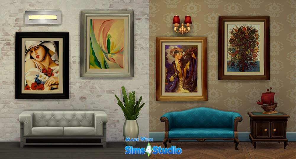 Female portraits and flower paintings for the Sims 4